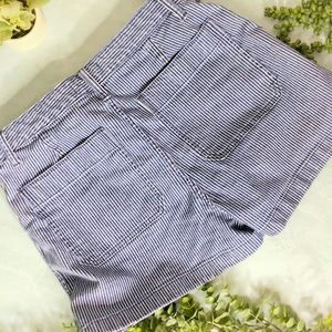 Madewell Shorts - Madewell High Rise Blue Striped Jean Shorts